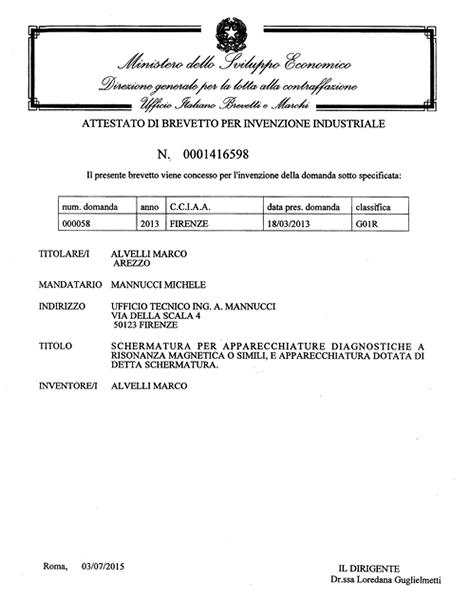 attestato brevetto per invenzione industriale
