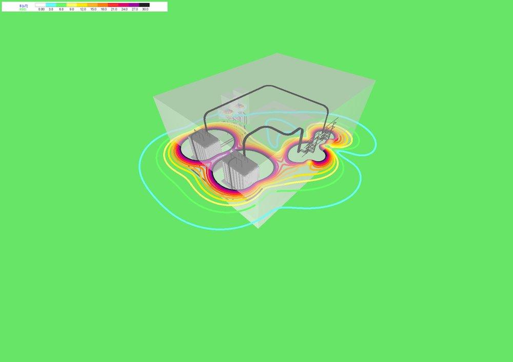 Risultati 3D di una simulazione in campo libero a +1,5 m dal piano di calpestio della cabina