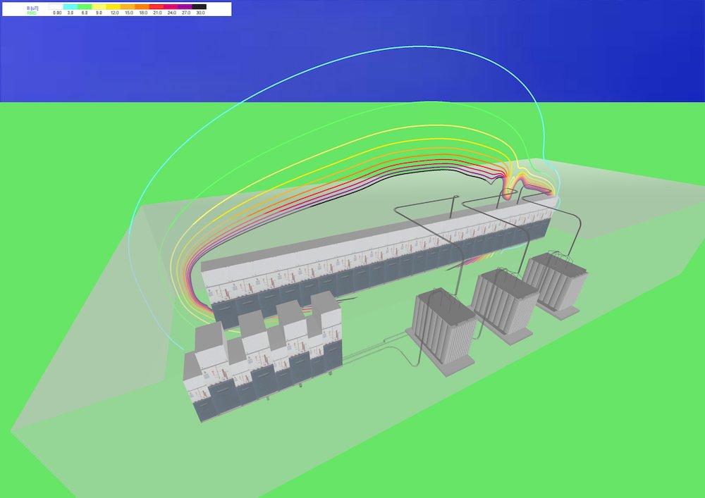 Risultati 3D di una simulazione in campo libero: 1,5 m dal piano di calpestio della cabina